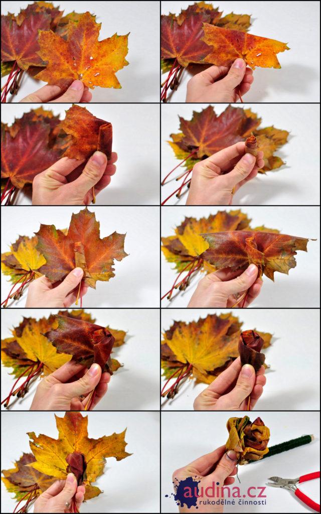 Květina z listí kolážw